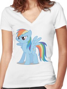 Rainbow Dash stance Women's Fitted V-Neck T-Shirt