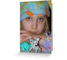The Somber Child and the Blue Hat Greeting Card