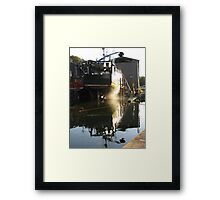 WET BOAT IN DRY DOCK Framed Print