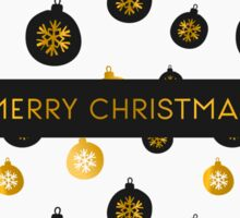 Gold, White and Black Christmas Baubles Sticker