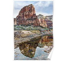 Angels Landing Reflected in Virgin River - Zion National Park Poster