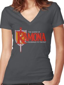 THE LEGEND OF RAMONA Women's Fitted V-Neck T-Shirt