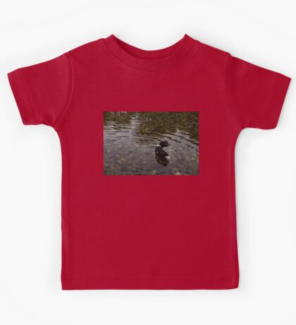 Crystal Clear Water Play - Cute Puppy In The River Kids Tee