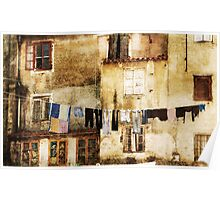 Drying laundry in mediterranean town. Poster