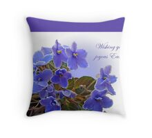 Happy Easter Card - African Violets Throw Pillow
