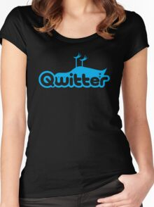 Qwitter Blue Women's Fitted Scoop T-Shirt