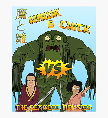 Hawk and Chick VS the Seaweed Monster Photographic Print