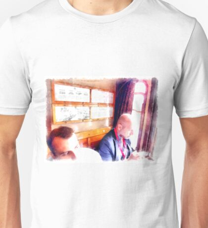 Travelers in the railway wagon Unisex T-Shirt