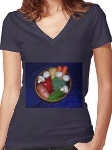 Mixed Vegetables Women's Fitted V-Neck T-Shirt