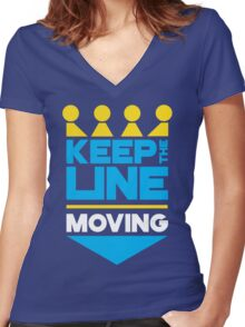 KC Royals: Keep the Line Moving Women's Fitted V-Neck T-Shirt