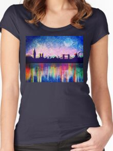 London in blue  Women's Fitted Scoop T-Shirt