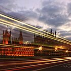 Zoom Zoom Zoom - Bus going past Westminster London at Night by Giovanna Tucker