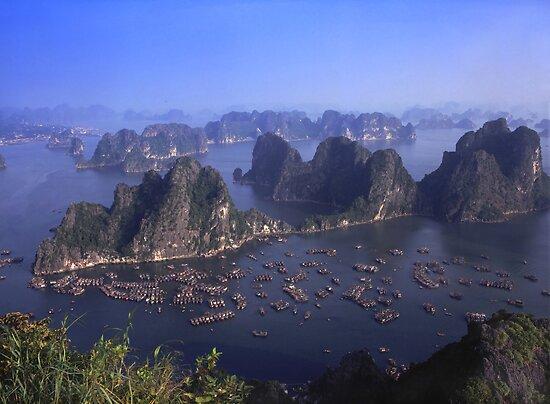 Vietnam Ha Long bay aerial view by sloweater