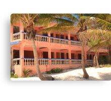 Old Pink Tropical Hotel on the Beach  Canvas Print