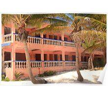 Old Pink Tropical Hotel on the Beach  Poster