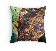 Dew on Oak Leaf Throw Pillow