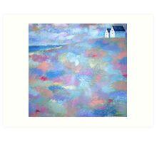 Acrylic painting Beach Houses Art Print