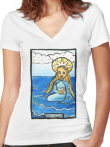 Queen of Cups Women's Fitted V-Neck T-Shirt