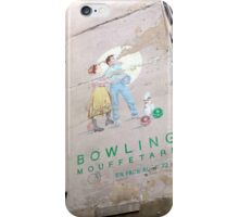 vintage bowling couple in paris iPhone Case/Skin