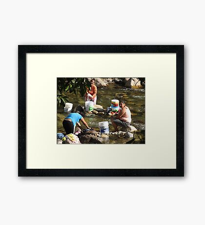 Collective Washing - Lavado Colectivo Framed Print