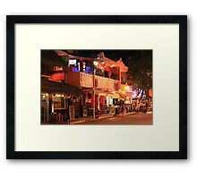 Street scene at night, Playa Del Carmen Mexico Framed Print