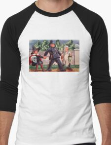 Young Gravediggers  (Vintage Halloween Card) Men's Baseball ¾ T-Shirt