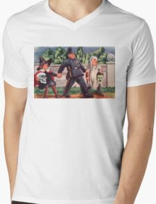 Young Gravediggers  (Vintage Halloween Card) Mens V-Neck T-Shirt