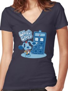 Who's Clues Women's Fitted V-Neck T-Shirt