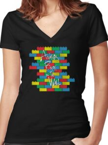 Brick in the Wall Women's Fitted V-Neck T-Shirt