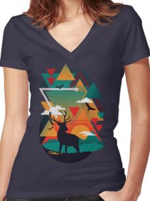 New Ridges Women's Fitted V-Neck T-Shirt