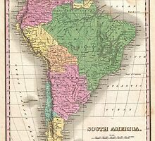 vintage Map of South America by ModernFaces