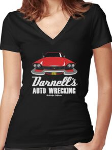 Darnell's Auto Wrecking Women's Fitted V-Neck T-Shirt