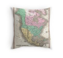 The vintage map of North America Throw Pillow
