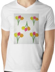 Happy Tulips Mens V-Neck T-Shirt
