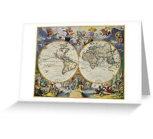 vintage map of the world Greeting Card