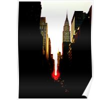 Manhattanhenge Sunset and the Chrysler Building Poster
