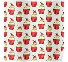 Colorful cup-cakes pattern set Poster