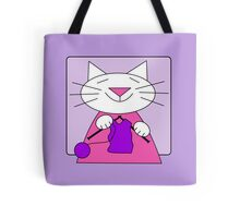Knitting Kitty Tote Bag