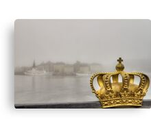 Golden crown and misty city. Canvas Print