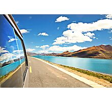 Driving next to lake along Friendship Highway, Tibet Photographic Print