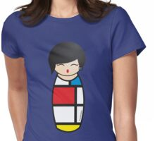 Kokeshi Composition with red, yellow, blue and black Womens Fitted T-Shirt