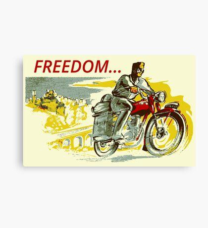 Retro vintage style FREEDOM motorcycle  Canvas Print