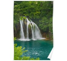 Scenic waterfall and turquoise water. Poster