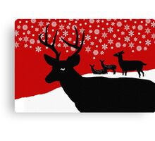 Deer Family in Snow, Christmas Winter Scene Canvas Print