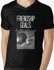 Friendship Goals; ButtahBenzo-- White Mens V-Neck T-Shirt