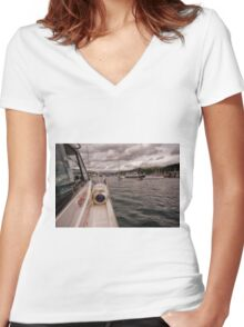 Wet Wheels Boat Trip, Dartmouth Women's Fitted V-Neck T-Shirt