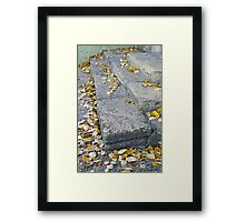 Side view of the steps of the old gray stone blocks Framed Print