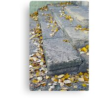 Side view of the steps of the old gray stone blocks Canvas Print