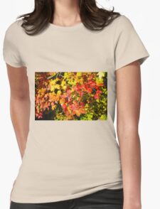Background of bright red and yellow maple leaves Womens Fitted T-Shirt