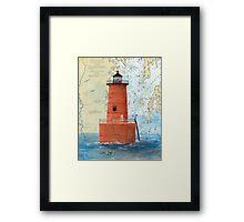 Bloody Pt Bar Lighthouse MD Nautical Chart Peek Framed Print